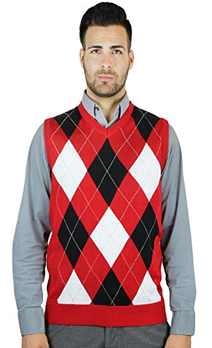 Blue Ocean Argyle Sweater Vest, Red, XXX-Large