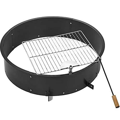 Anhon 92cm massiver Stahl Feuerstelle Liner Ring 3 mm Dicke DIY Lagerfeuer Ring Oben oder in Boden 92 cm außen x 92 cm innen für Outdoor Camping (92x92x20cm)