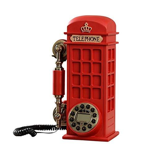 Sywlwxkq Suministro de teléfono con Cable Moda Retro Cabina de teléfono Teléfono Línea Fija Botón Dial Estilo Europeo Retro Personalidad Encantadora 32 * 13 * 24cm Teléfono inalámbrico