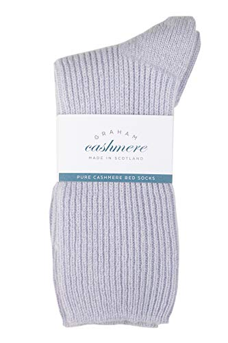 Graham Cashmere - Pure Cashmere Bed Socks - Made in Scotland - Gift Boxed (Soft Blue), One Size