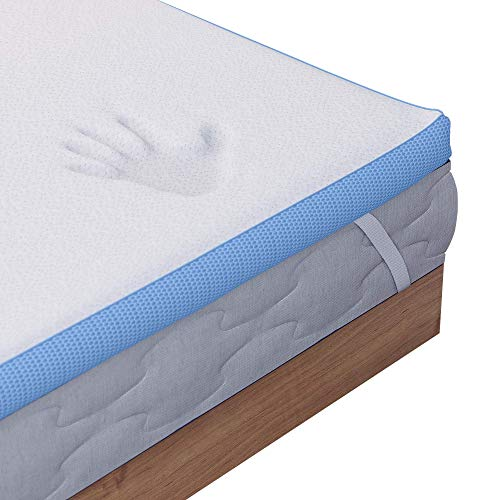 Dreamzie - Memory Foam Mattress Topper Euro Double Bed - 5cm (2 inches) of High Density 45kg/m3 Foam - Oeko Tex Certified - 4 Deep Elastics 12 inches - For Beds 140 x 190 cm / 4ft 9' x 6ft 3'