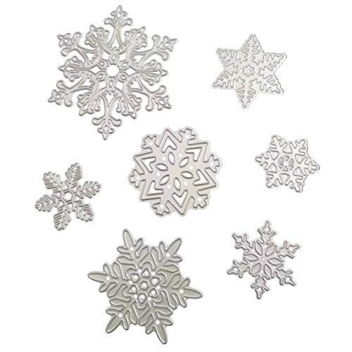 Christmas Dies Metal Cutting Dies in Die Cut Machine for Scrapbooking Card Making(7pcs Snowflake)