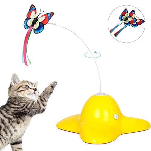 Anikigu Electric Rotating Butterfly Katzenspielzeug mit 2 Stück Ersatz blinkende Schmetterlinge Interaktives Katzenspielzeug Spinning Cat Teaser Toy