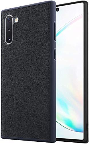 Arrivly Cover per Galaxy Note 10 Custodia Protettiva in Materiale Alcantara Ibrida in Microfibra e Silicone Scamosciata Nera (Samsung Note 10)