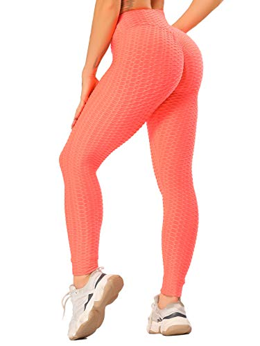 FITTOO Damen Scrunch Butt Leggings Honeycomb Yogahose Booty Lifting Fitness Hose Push-Up Sporthose Stretch Workout Fitness Jogginghose Design 2 - Orange M