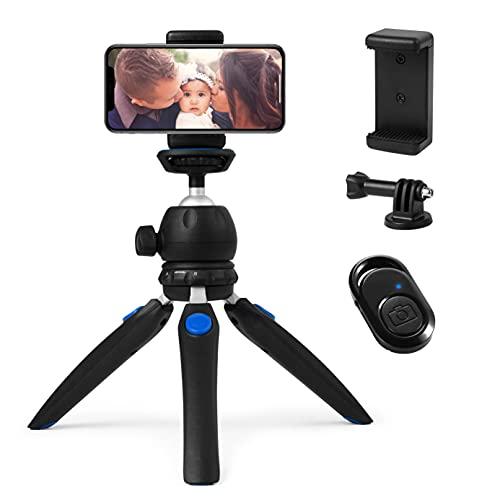 HITSLAM Tripod, Trepied Smartphone, Mini Trepied pour iPhone/Samsung Galaxy/Huawei Portable, Petit Appareil Photo et GoPro avec Télécommande Bluetooth, Support Téléphone et Adaptateur GoPro
