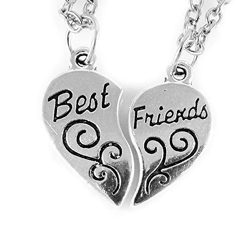 AKIEE Colgante Collar Best Friends Forever BFF Mejores Amigos Amistad Plateado y Negro (Plata)