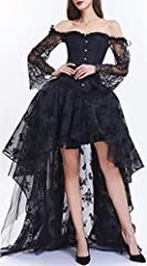 EUDOLAH Women's Gothic Steampunk Steel Boned Corset Dress Skirt Set Costume (UK 14-16 (2XL), Black) #3