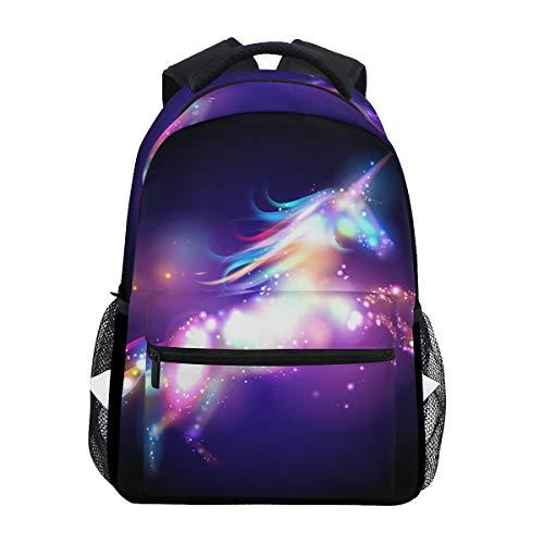 ZZKKO Rainbow Unicorn Abstract Art Boys Girls School Computer Backpacks Book Bag Travel Hiking Camping Daypack