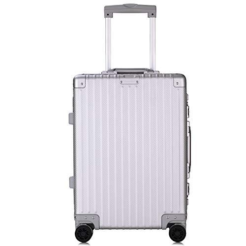 Lesige アルミ スーツケース カーボン キャリーケース キャリーバッグ 大型 TSAロック ダブルキャスター 旅行 出張 (Mサイズ, 4〜6泊用, シルバー)