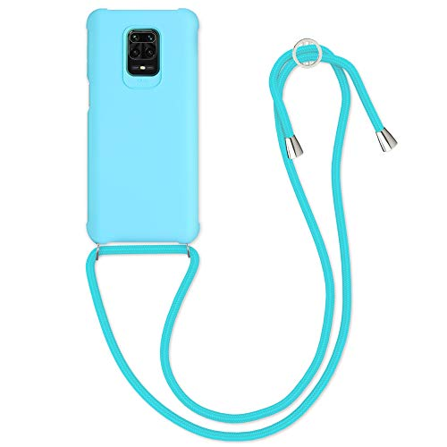 kwmobile Funda con Cuerda Compatible con Xiaomi Redmi Note 9S / 9 Pro / 9 Pro MAX - Carcasa de TPU Mate con Colgante en Azul Claro