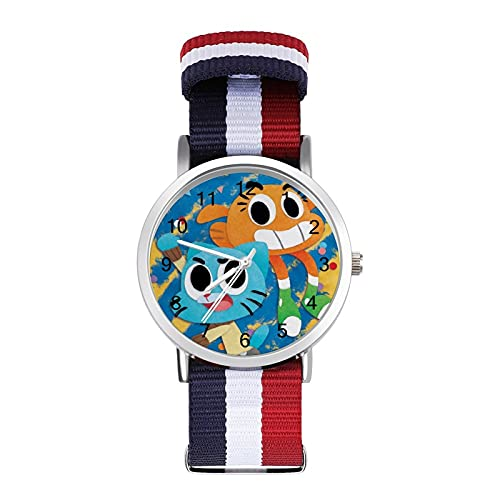 Amazing World of Gumball - Reloj de ocio para adultos con trenza escala, ajustable y elegante espejo de cristal de 1.6 pulgadas para hombres y mujeres
