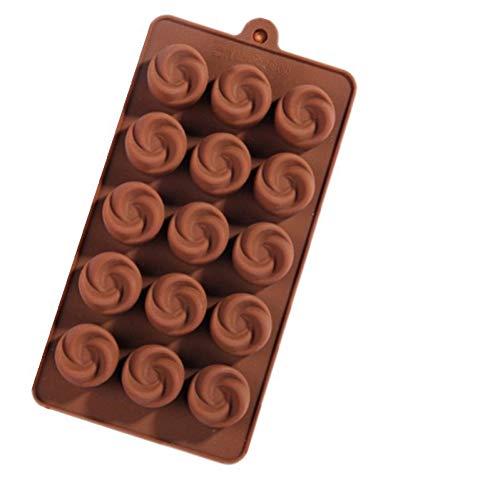 KsimYa Silicone 15 Swirl Chocolat Moule concave Rose glacière Outil de Cuisson Bricolage