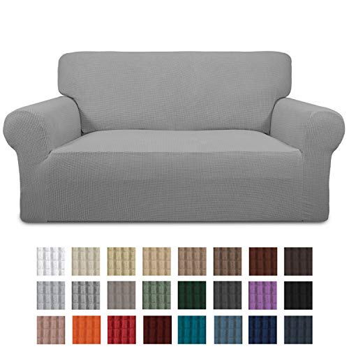 Easy-Going Stretch Loveseat Slipcover 1-Piece Couch Sofa Cover Furniture Protector Soft with Elastic Bottom for Kids. Spandex Jacquard Fabric Small Checks(loveseat,Light Gray)
