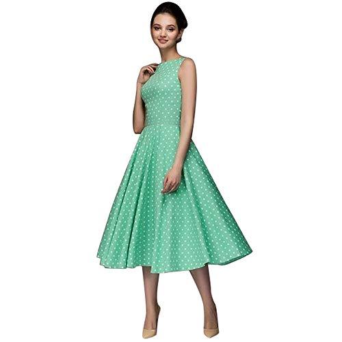 Auifor◕‿◕Punto de Mujer sin Mangas Hepburn Retro Cremallera Linda Rodilla Floral Vestido Largo del oscilación