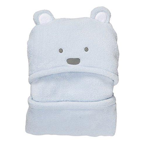 Vine Couverture de bébé ultra douce avec capuche et animal en peluche à la mode-Peignoir de bain à capuche pour bébé, à motif nounour ourson 92x72cm(bleu)