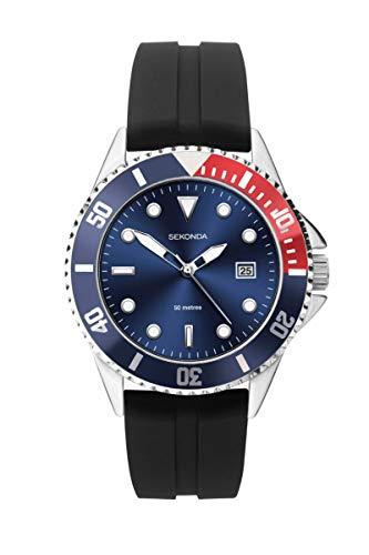 Sekonda mens cinturino in gomma blu quadrante orologio sportivo 1623