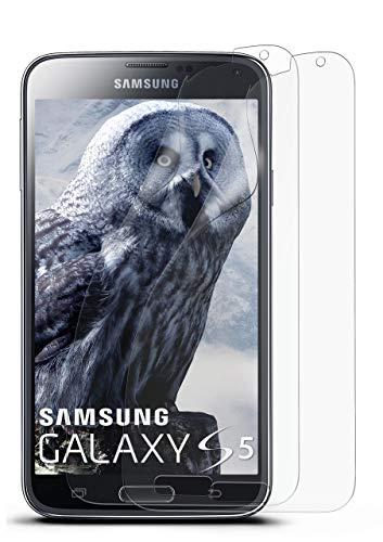 moex Schutzfolie matt kompatibel mit Samsung Galaxy S5 / S5 Neo - Folie gegen Reflexionen, Anti Reflex Displayschutz, Matte Displayfolie - 2X Stück