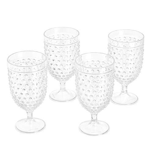 Amazon Basics Tritan Hobnail Texture Footed Iced Tea Glasses - 17-Ounce, Set of 4