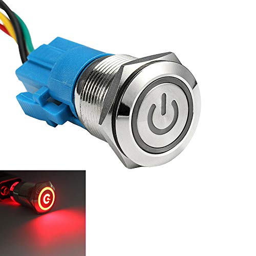 ESUPPORT Stainless Steel 19mm 12V 5A Power Symbol Angel Eye Halo Car Red LED Light Metal Push Button Toggle Switch Socket Plug Wire Waterproof