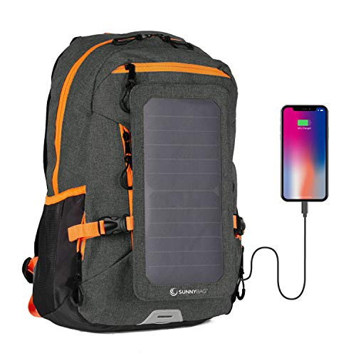 Sunnybag Explorer+ Solar Backpack Charger | World's Strongest Water Resistant Solar Panel for Smartphones and All USB-Devices on The go | 15L Volume and 15'' Laptop Compartment | Black/Orange