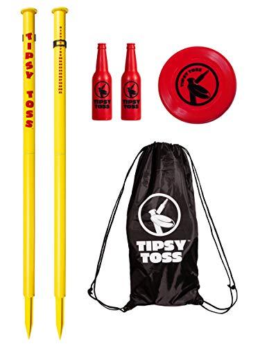 GoSports Tipsy Toss Game Set - Flying Disc Bottle Drop Yard Game, Yellow