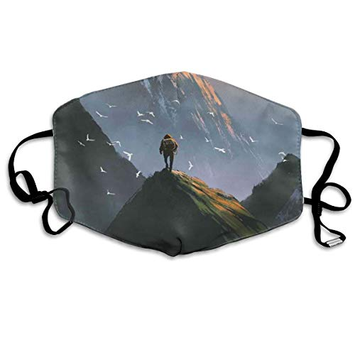 Trekker Man Stand op The Top of Mountain with Flying White Birds Painting Style Printing Mouth Cover voor volwassenen