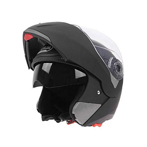 ZHIXX MALL Cool Motorradhelm,Klapphelm Integralhelm ,Sonnenschutz Roller Sturz Helm - Double Lens Helm (Matt-schwarz, XL)