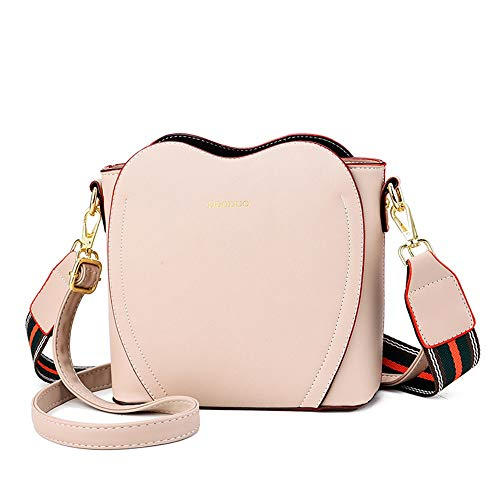 HAZXDFZL Heart-shaped Leather Shoulder Bag, Ladies Large Capacity Messenger Bag, Two Straps Design, Suitable for Work, Travel, Dating, Waterproof Leather, Fashion Versatile. Temperament, simple commut
