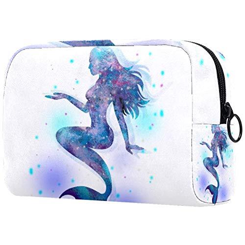 Kosmetiktasche Fantasie Meerjungfrau Blau Makeup Tasche Reise Kosmetiktaschen Tragbare Verfassungsbeutel Waschtasche Münzbeutel mit Reißverschluss 18.5x7.5x13cm