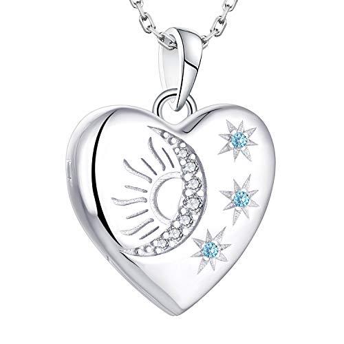 starchenie Herz Medaillon zum Öffnen für Bilder 925 Silber Foto Medaillon Halskette mit Stern/Mond/Sonne Geburtsstein Anhänger Geschenke für Damen