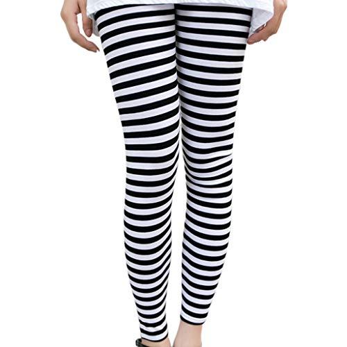 JERKKY Leggings 1 Stuk Vrouwen Enkel Lengte Skinny Leggings Zwart Wit Horizontale Gestreepte Broek Panty