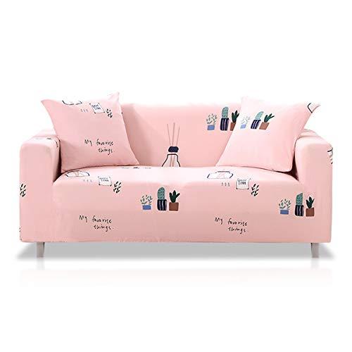Fashion·LIFE Sofabezüge 2 Sitzer Elastischer Sofaüberwurf Blumen-Muster Schonbezug Polyester Multifunktio Couchabdeckung Wohnkultur für Ganze Saison,Rosa