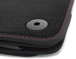 kh Teile Fußmatten (Velours), passend für A3/S3 (8P/ alle Modelle), Premium Qualität Autoteppiche, schwarz, 4 teilig, Ziernaht rot (S  Line Design)