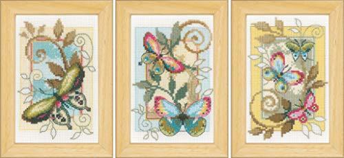 Vervaco Miniaturen Schmetterlinge Aida 3er Set Kreuzstickpackung zum Auszählen, weiß, 8 x 12 x 0,3 cm