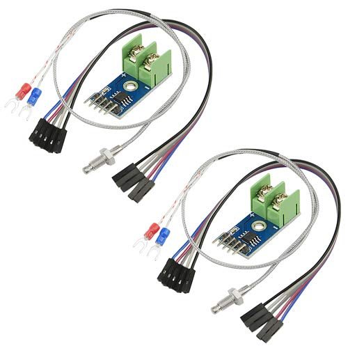 XLX 2PCS DC 3-5V MAX6675 Thermoelementmodul Mini Board und 2PCS K Typ Thermoelement Temperatursensor mit Kabel