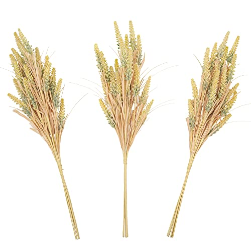 VGIA 3 Pcs Artificial Wheat Heads Dried Wheat Ear Artificial Plants Fall Decorations for Fall Harvest Thanksgiving DIY Craft Wedding Farmhouse Decorations