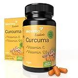 Mavima Extracto de cúrcuma + vitamina C + vitamina D3 | Cápsulas de cúrcuma de alta dosis 1 cápsula al día | Suplemento alimenticio | Cápsulas de curcuma de alta dosis | Cápsulas de cúrcuma Turmeric