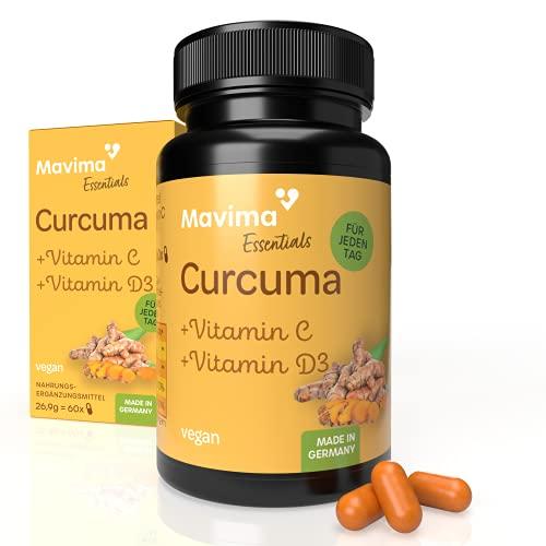 Mavima Premium Curcuma Kapseln + Vitamin C + Vitamin D3 mit Kurkumin | Kurkuma Kapseln hochdosiert 1 Kapsel täglich | Kurkuma Extrakt | Curcumin Kapseln hochdosiert | Curcuma Extrakt Kapseln