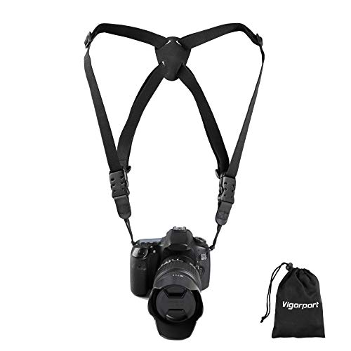 Camera Harness Strap,Cross Shoulder Quick Release Straps for Binoculars, Rangefinders,Harness Strap Compatible with Canon, Nikon, Sony and DSLR SLR Cameras-Black
