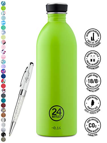 24 Bottles Trinkflasche Urban 250 ml | 500 ml | 1000 ml versch. Farben inkl. Lieblingsmensch Kugelschreiber, Größe:1000 ml, Farbe:lime green