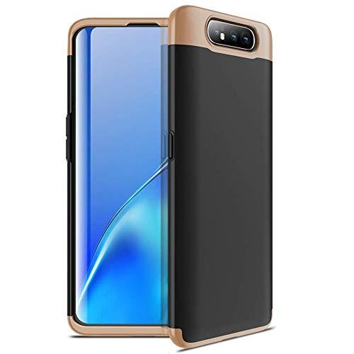 Capa Capinha Anti Impacto 360 Para Samsung Galaxy A80 Tela De 6.7Polegadas Case Acrílica Fosca Acabamento Slim Macio - Danet (Preto com dourado)