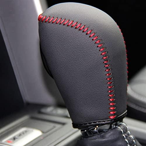 RONGSHU Cubiertas de Engranajes para automóviles Ajuste para Subaru XV 2012~2014 Forester 2013~2016 Collares de Cambio automáticos de Cuero Genuino Cosido a Mano (Color Name : Red Line)
