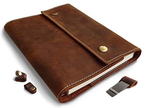 Albero Refillable Leather Journal for Men and Women  Spiral Bound Notebook 240 Pages  A5 Lined Journal Cover  5x8 Inches Brown Vintage Diary for Travel and Business - by Le Vent
