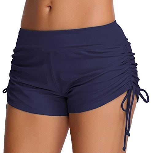 OLIPHEE Femmes Shorts de Bain Classique-Yoga, Jogging, Natation, Plage, Piscine FR 40-42(Tag XL),Bleu foncé