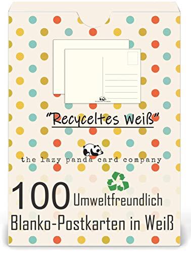 Postkarten Blanko - Leere Postkarten 100 Stück zum Selbstgestalten beschreiben oder bemalen extra dickes 300g Recycletes Papier Vintage für Kinder oder Erwachsene