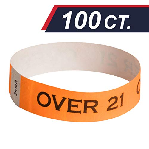 EventWristband Premium Over 21 Tyvek Wristbands (100 Count, Orange) - Drinking Age Verified, Over 21 & Verified Identification Event Wristband Paper Bracelets - Neon Wrist Bands for Festivals