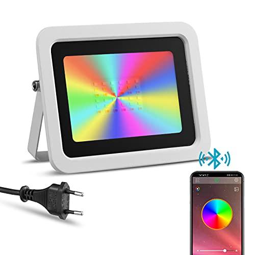 Foco LED RGBW de Exterior 50W Controlado por Teléfono Inteligente, IP68 Impermeable, Proyector LED Inteligente de color RGB, Iluminación Jardín Piscina Boda Fiesta(50W Blanco)