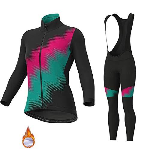 GET Conjunto de Maillot de Ciclismo de Manga Larga para Mujer, Camiseta de Bicicleta de Lana Térmica, Ropa de Medias + Pantalones Acolchados 9D (Color : A, Talla : S)
