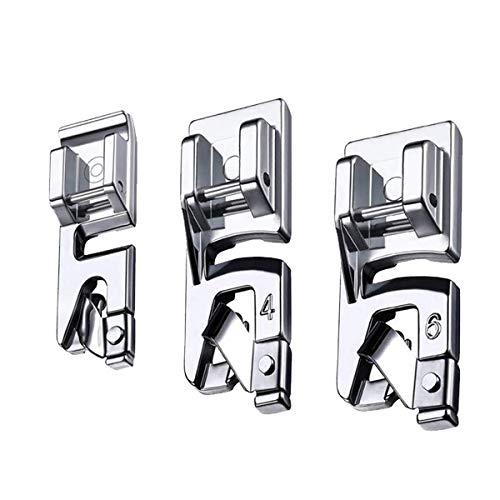 LMYJ Set di piedini premistoffa per orlo arrotolato, stretti, da 3 mm, 4 mm e 6 mm, adatti per la maggior parte delle macchine da cucire con attacco basso, quali Singer e Brother